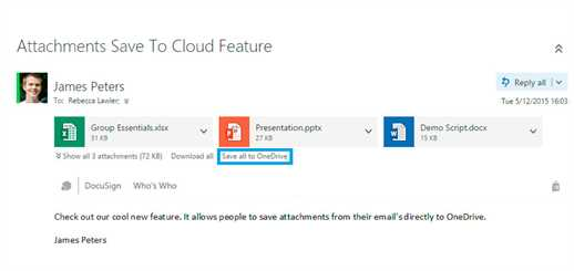 Outlook Web App users can now save attachments to OneDrive for Business