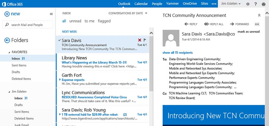 New features for microsoft outlook web app in office 365 - Office 365 specifications ...
