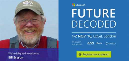 Bill Bryson confirmed as speaker at Future Decoded