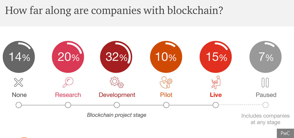 84% of businesses have embarked on a blockchain initiative, says PwC